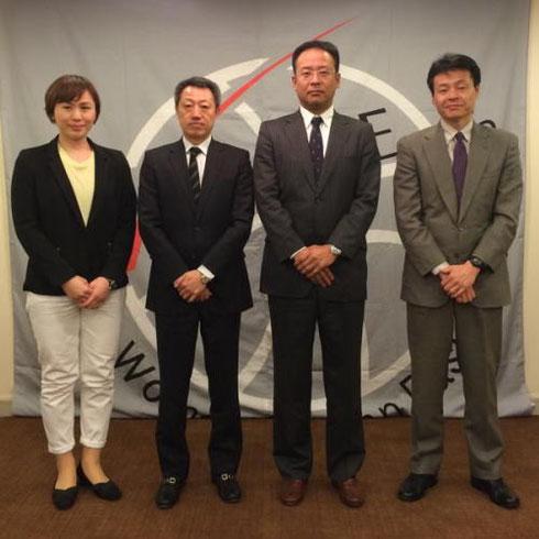 (左から)富士通:薮内HC、JX-ENEOS:佐藤HC、トヨタ自動車:後藤HC、デンソー:小嶋HC
