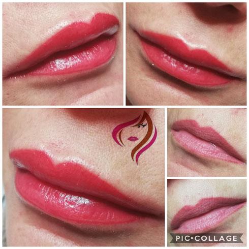 Lippen Vollschattierung intensiv
