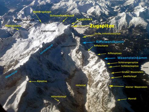Luftbild des Zugspitzmassivs mit Erklärungen (wikipedia, Octagon)