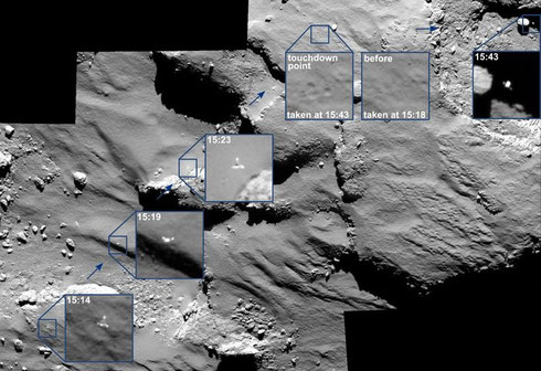 "Philae's erste Landung, aufgenommen von Rosetta (OSIRIS). Rechts oben (""touchdown point"") sieht man quasi die Fuß-Abdrücke von Philae, nämlich den Abdruck der drei Standbeine. (Credit: ESA/Rosetta/MPS for OSIRIS Team MPS/UPD/LAM/IAA/SSO/INTA/UPM/DASP/IDA)"