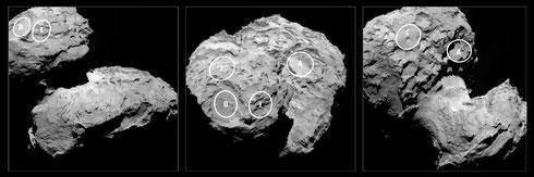Verschiedene mögliche Landeplätze (Credit: ESA/ Rosetta/ MPS for OSIRIS Team/ UPD/ LAM/ IAA/ SSO/ INTA/ UPM/ DASP/ IDA)