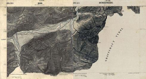 Gebiet des Sylvensteinsees ca. 1865, mit dem alten Dorf Fall an der Nahtstelle der Kartenblätter - vergrößerbar. Zusammengesetzt aus den Kartenblättern 866 und 867. (Diese Karte ist gemeinfrei, weil die urheberrechtliche Schutzfrist abgelaufen ist.)