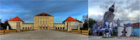Symmetrie und Asymmetrie (Schloss Nymphenburg in München und Hundertwasserhaus in Abensberg)