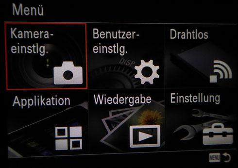 """Sony DSC-HX90: Kachelmenü, Auswahl """"Kameraeinstellungen"""""""
