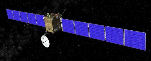 3-D Modell der Raumsonde Rosetta (wikipedia, IanShazell)