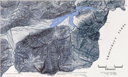 Alte Karte mit eingezeichnetem Überflutungsgebiet (wikipedia, Maximilian Dörrbecker (Chumwa))