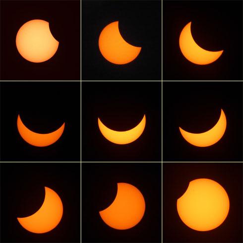 Partielle Sonnenfinsternis am 20.03.2015, gesehen südlich von München, mit einem maximalen Bedeckungsgrad von ca. 68%.