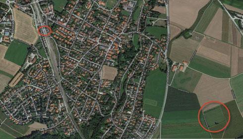 Links oben: Bahnhof Deisenhofen