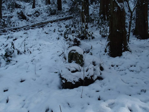 角原登山道の途中にある石仏・・・              目立たないのでみのがしそう。どんないわれがあるか知らない