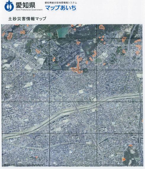 マップあいちの航空写真による土砂災害情報マップ 感覚的に一番分かりやすいマップかも