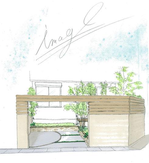 守山区 お庭リフォーム 完成予想パース