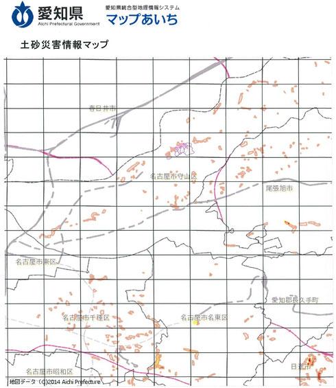 マップあいちによる土砂災害情報マップ 守山区を中心に拡大表示