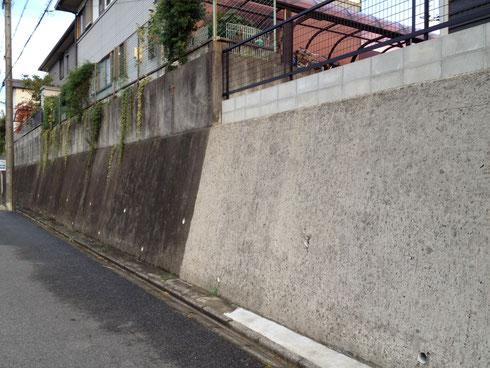 日進市 擁壁を高圧洗浄するとこんなにきれいになる