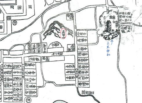 19世紀の摂州大坂地図 心眼寺の西に真田山が