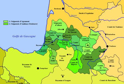 Carte des fiefs de Gascogne