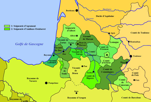 Carte des fiefs de Gascogne en 1150