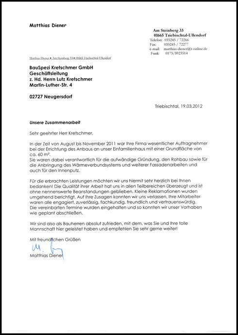 Schreiben des Bauherren über Zusammenarbeit und Zufriedenheit mit der Firma BauSpezi Kretschmer GmbH