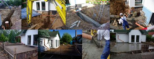 Erdarbeiten, Streifenfundamente, Bodenplatte