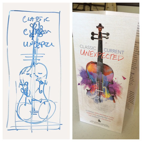Original thumbnail from brainstorming session shown next to finished cover design.