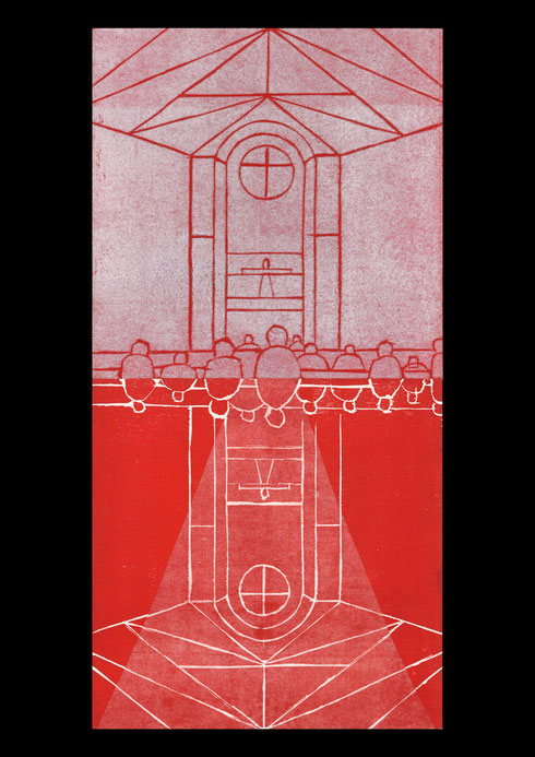 Church and landscape (twelve times towards the cross), 2005 #1: woodcut print on rice-paper and collage on ply-wood; 60x30cm (2 panels)