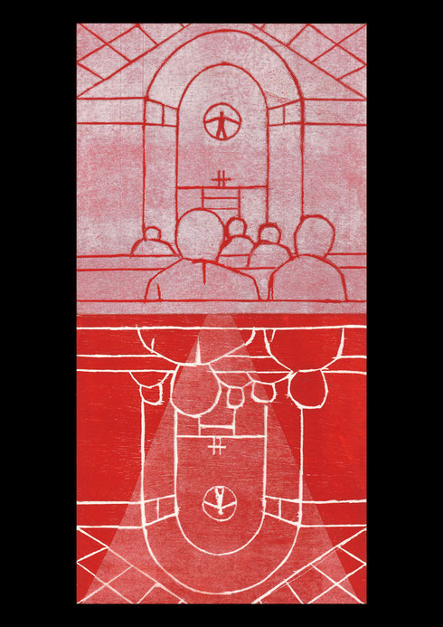 Church and landscape (twelve times towards the cross), 2005 #5: woodcut print on rice-paper and collage on ply-wood; 60x30cm (2 panels)