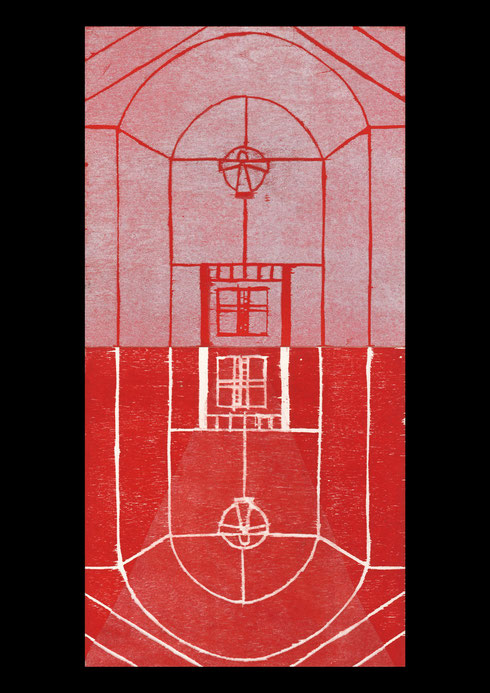 Church and landscape (twelve times towards the cross), 2005 #10: woodcut print on rice-paper and collage on ply-wood; 60x30cm (2 panels)