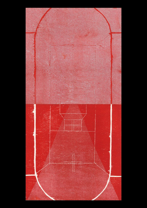 Church and landscape (twelve times towards the cross), 2005 #11: woodcut print on rice-paper and collage on ply-wood; 60x30cm (2 panels)
