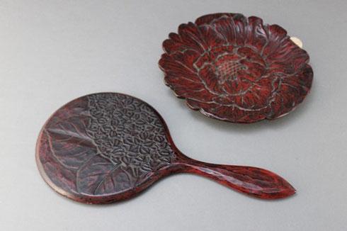 鎌倉彫の手鏡と菓子皿の修理