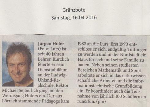 Jürgen Hofer . Gränzbote 19.04.2016