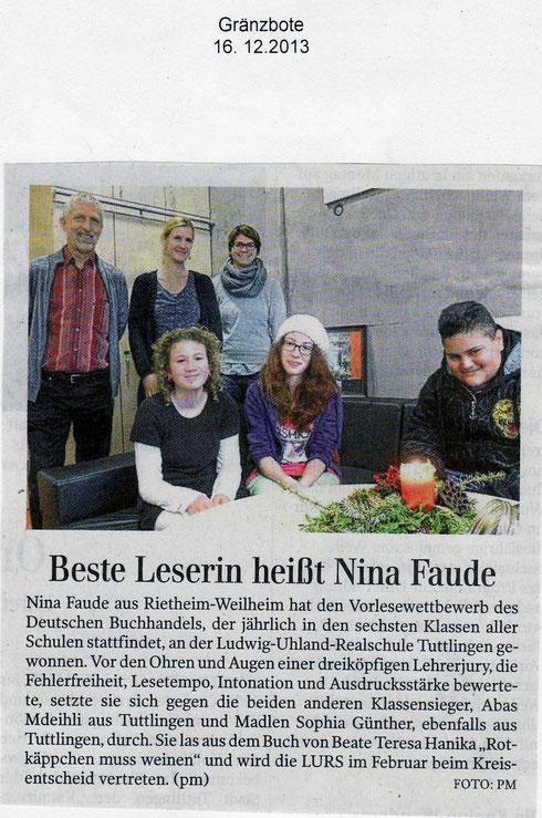 Vorlesesieger - Gränzbote 16.12.2013