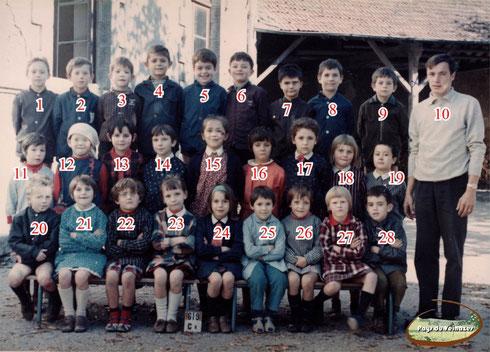 Année scolaire 1969 : école primaire de Montsalvy
