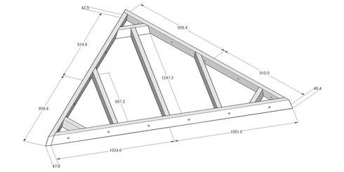 三角パネル 構造  ※ これに合板(12mm厚)が釘打ちされています。