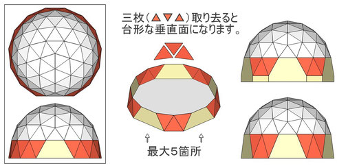 正15角形ドーム + 台形垂直壁