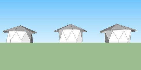8角形三角ハウス  △垂長壁 --- 反角柱壁 --- ▽垂直壁