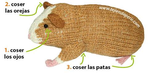Cómo tejer un cuy o guinea pig en dos agujas o palitos