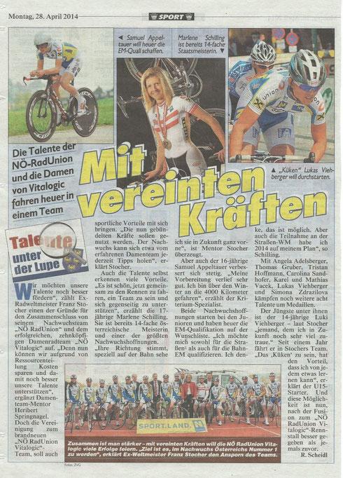 Bericht NÖ Kronenzeitung 28.04.2014
