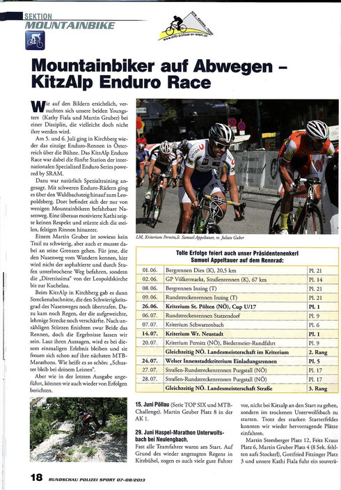 Bericht i.d. Polizeisport Rundschau 7-8  2013