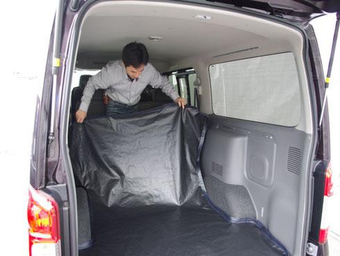 ハイエース キャラバン フロアマット ラゲージマット 床貼り加工