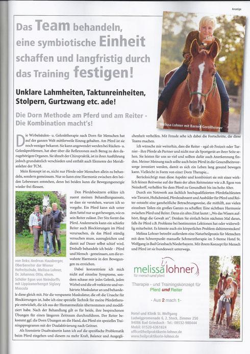 Zeitungsartikel Melissa Lohner in der Pferde Fit und Vital