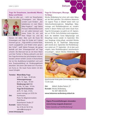 Bericht im neuen Honey Magazin September/Oktober 2013