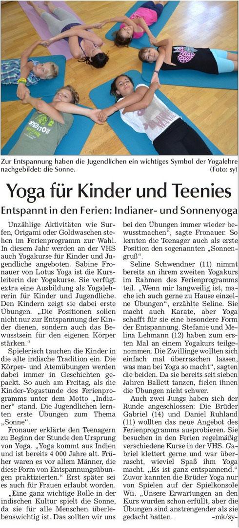 Artikel in der Landshuter Zeitung zum Ferienprogramm 06.08.2013
