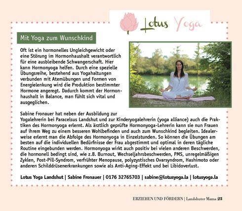 Lotus Yoga in der Landshuter Mama Ausgabe Jan. 2020 Schwerpunkt Kinderwunsch