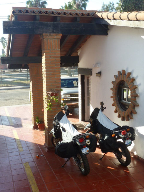 Bikes safe and sound at Las Dunas hotel in Ensenada