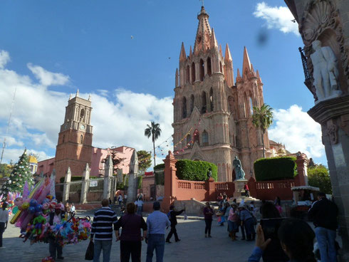 Church in San Miguel de Allende's main plaza