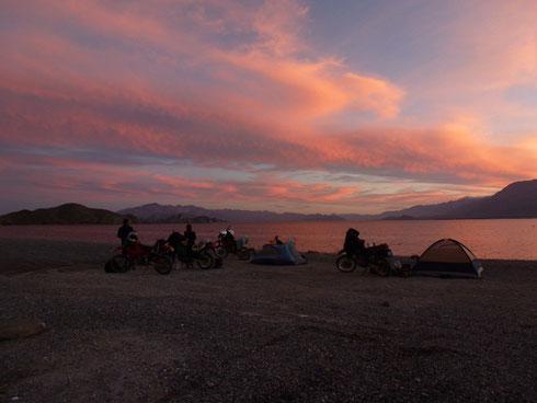 Sun setting over our campsite at La Gringa
