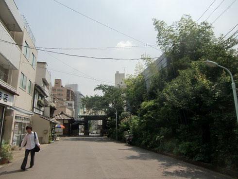 泉岳寺の参道から中門を見た風景です。右側の竹のあたりが8階建て予定地。建ったらこの空が無くなってしまいます。