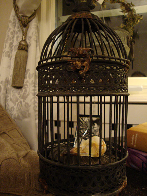 Victorian cage with Raven skull by SandraHila on Etsy