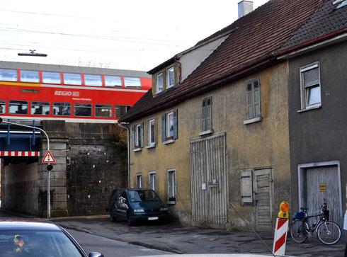 """Das so genannte """"Judenhaus"""" in der Gerberstraße 26 an der Eisenbahnüberführung, Foto; Manuel Werner, 2013, alle Rechte vorbehalten!"""