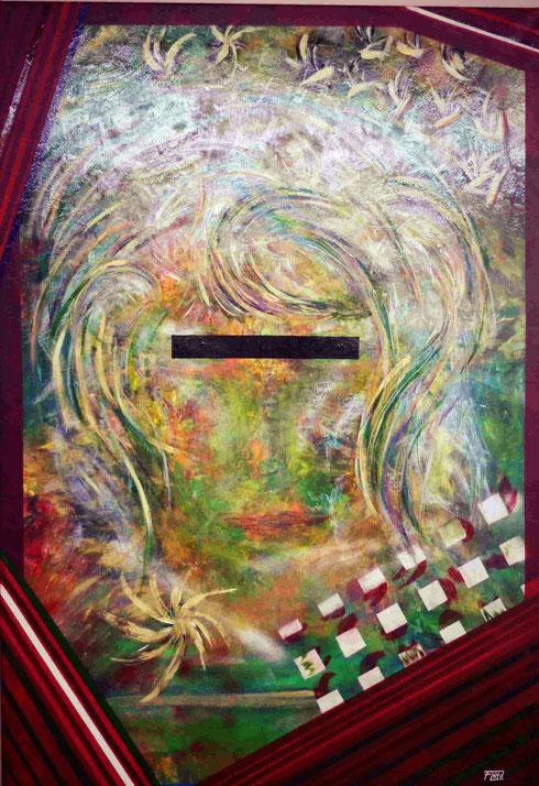 Leinwand aus einstieg PVC beschichtetem Material. Aufgespannt auf stabilem Holzrahmen. Große mengen an unterschiedlichsten Farben wegeben dieses mit vielen bunten Haaren versehene Gesicht.