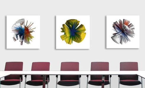 Das Konzept der Edition plus_3 wurde vom Kunstbüro Düsseldorf entwickelt. Ihm obliegt auch die konkrete Umsetzung der Artworks.